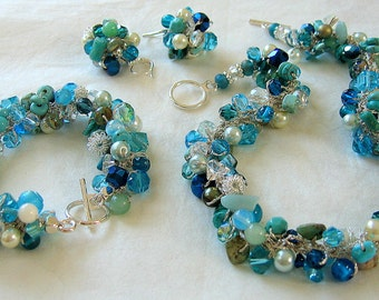 OCEAN BEACH Three Piece Bridal Set, Beachy Colors Destination Wedding, Blue Green, Teal, Caribbean Sea, Hand Knit, Exclusive Sereba Designs
