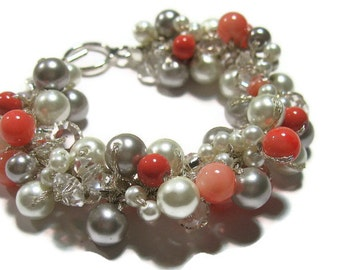 BRIDAL Pearl Bracelet, Persimmon, Salmon, Peach,  POPPY Pink Coral,White, Silver Grey, Limited Edition Color, Sereba Designs