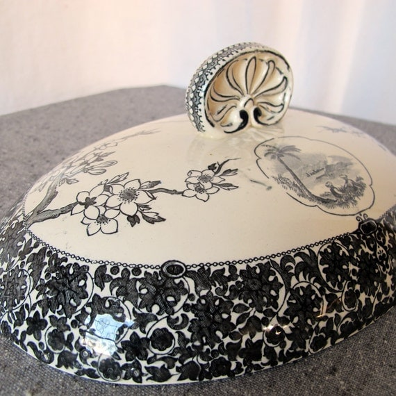 1880s Victorian Transferware Tureen Lid Exoticism Chinoserie Egypt Arab Japanese Blossoms Greek Handle