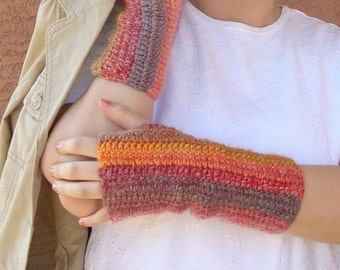 Abstract: Wool Blend Multicolor Fingerless Gloves for Women - Crochet FingerlessGloves, Arm Warmers, Fingerless Mittens MADE TO ORDER