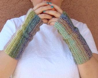 Watercolor: Wool Blend Crochet Fingerless Gloves for Women or Men, Multicolor Fingerless Gloves, Fingerless Mittens, Arm Warmers