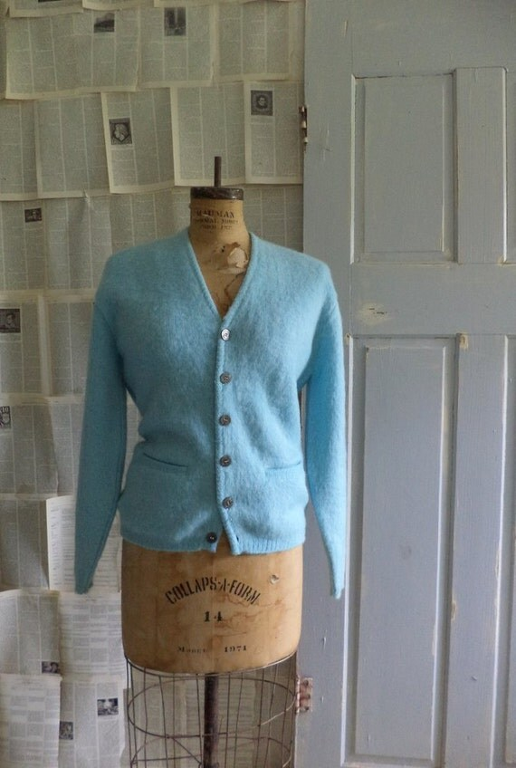 1960s Button Up Cardigan, Light Blue Vintage Sweater Cardigan, Size Large to Extra Large
