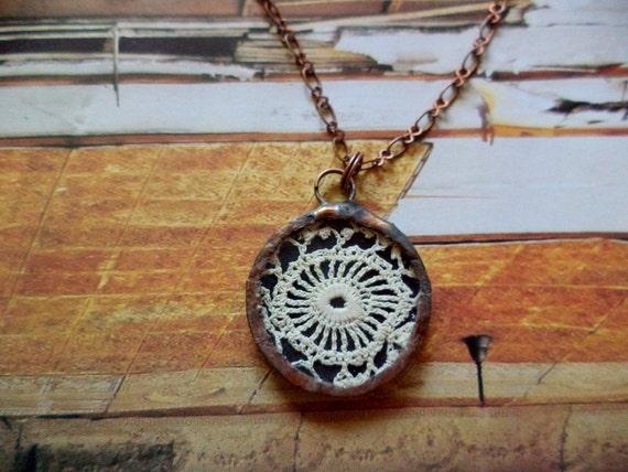 Vintage Lace Necklace Victorian Fiber Circular Pendant