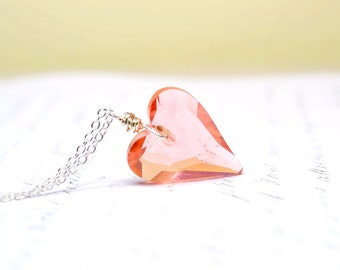 Crystal Heart Peach Necklace, Ready to Ship for Mother's Day Gift, Coral Swarovski Crystal Pendant