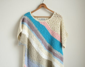 Pastel Stripe Knit Sweater Blouse - Dolman Sleeve - Textural Knit