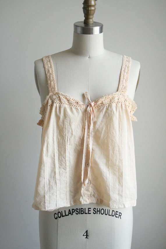 20s Pintuck Cotton Camisole with Lace Straps - Pastel Pink Camisole