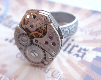Steampunk Ring Clockwork Mechanism Silver floral Adjustable SIZE 6.5 - 10  Up Cycled repurposed ring CR1