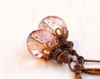 Dangle Earrings, Leverback Earrings, Topaz Pink Luster Czech Glass Beads And Copper Earrings