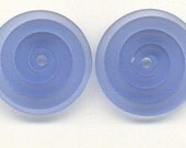 Tom's handmade lampwork Satin (etched) frosted Caribbean blue 2 disc spacer/drops set, 1 pair 99409