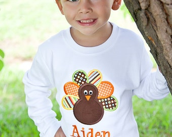 Boys Monogrammed Turkey Shirt-Personalized Applique Turkey Thanksgiving Shirt