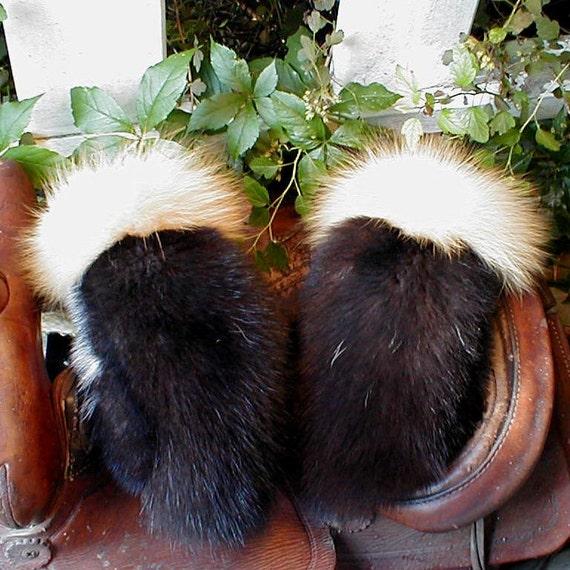 Black skunk fur mittens red fox trim handmade medium with red fleece liner