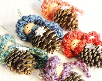 Custom Pinecone Gnome Christmas Tree Ornament Crocheted Hat n Scarf Handpainted Wooden Pinecone Holiday Decoration By Distinctly Daisy