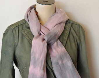 Linen SCARF - Mauve Lavender Blend Hand Dyed Tie Dye Hand Made Linen Scarf #53 - 12 x 72""