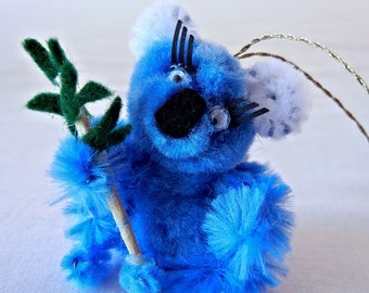 Blue Koala Bear Christmas Ornament or Mirror Decoration, Cute Mod Pom Pom Animal