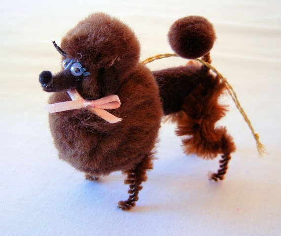 Chocolate Brown Poodle Pom Pom Ornament, 50s 60s Retro Nostalgia