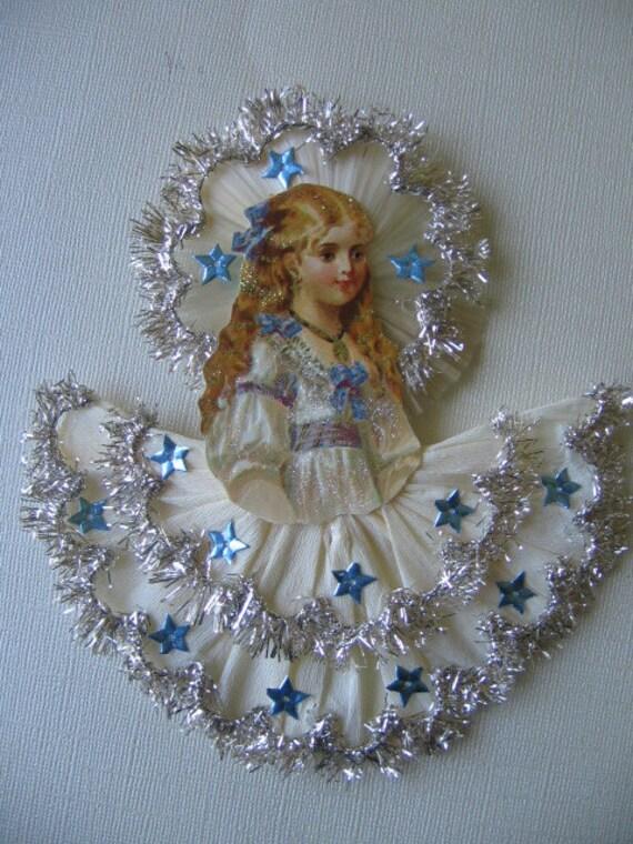 Vintage look victorian christmas ornament german scrap girl
