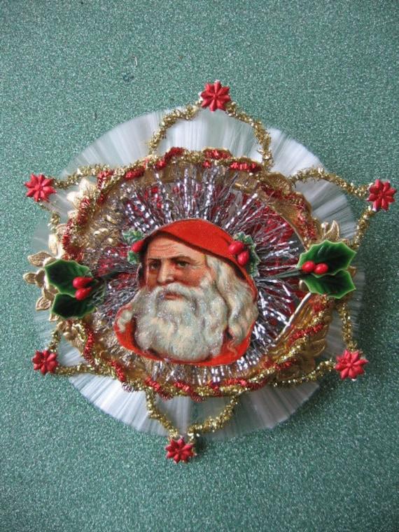 Vintage Look Victorian Christmas Ormament- Very Vintage German Scrap Santa, Dresdens, Rare Tinsel Ball,Tinsel,Spun Glass Wheel,Krinkle Wire