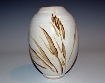 Ceramic Vase, Ceramics and Pottery Vase, Brown and White, Flower Vase, Sumi E Painted design