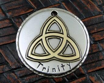 Custom Dog ID Tag Trinity,Dog Collar ID Tag,Personalized Pet Tag,Handmade Dog Collar Trinity ID Tag