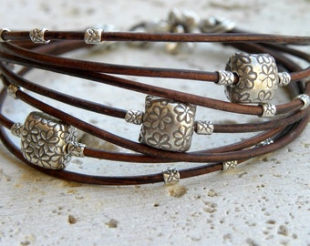Sterling Silver Flowers and Chocolate Leather Bracelet Multiple Strands Bangle