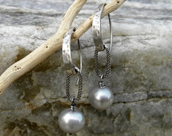 Gray Pearls and Sterling Silver Earrings Urban Modern Contemporary Textured Organic