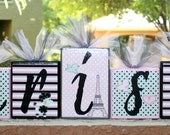 Larissa Collection - Chic Poodle in Paris Personalized Blocks - Baby - Teacher - Classroom Decor - Baby Shower