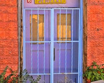 Vibrant Orange and Purple Jewelry Door, 8x12 Fine Art Photograph (G7958)