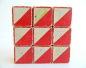 9 block set of nautical signal code flag red white yellow and blue wood pattern blocks