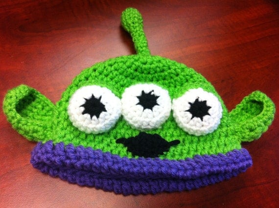 Custom Made Toy Story Alien hat, Crochet Alien Hat, Monster Hat, Inspired by Toy Story zoom Toy Story