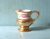 Lusterware Hand Painted Pitcher Gold Floral