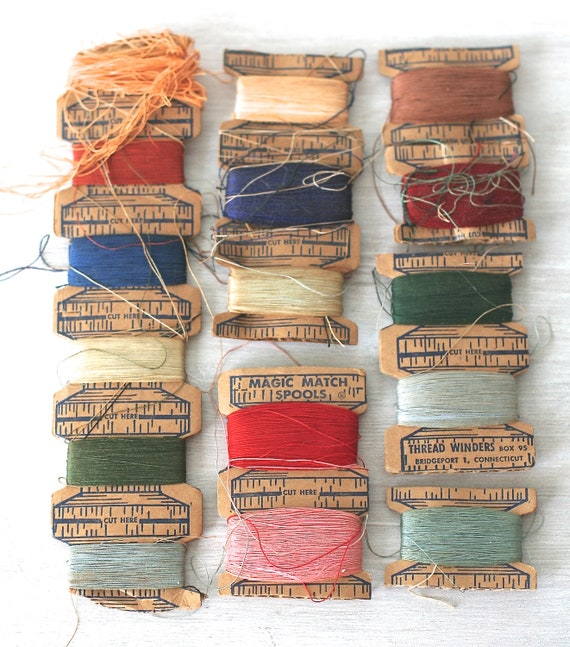 Circa 1940s Magic Match Spools Multi Colored Thread