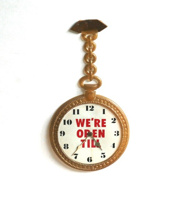 We're Open Till Shop Sign Clock Pocket Watch Thin Plastic