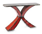 Metal Table Red X Console