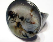 Little Miss Muffet Cuff Ring Silver Adjustable Resin Art Jewelry