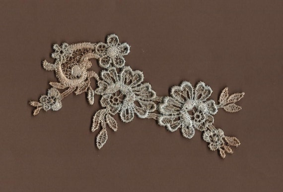 Hand Dyed Floral Venise Lace Applique  Aged Faded Denim Patina