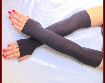 Fingerless purple long gloves, thumb hole, feminine fitted, arm warmers