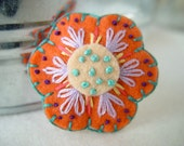 Tumbleweed Kids eco friendly wool felt, embroidered flower hair clip