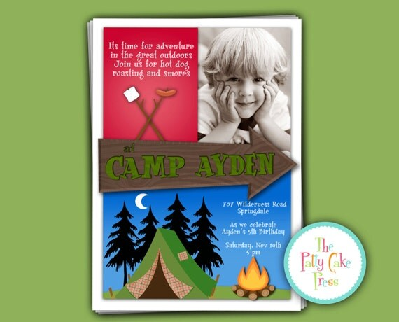 Camp Out Invitation with Photo Birthday Party Custom Printable Digital File Fourth Third 4th 3rd Tent Bonfire Fall