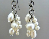Pearl Dangle Earrings with Gunmetal and Niobium  - Special Occasion