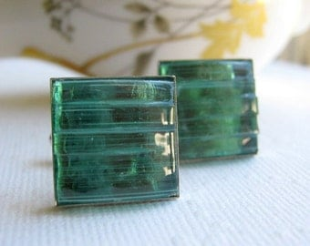Aquamarine Cufflinks Square Silver Mens Wedding Jewelry Blue Green Stained Glass Mosaic Cuff Links Traditional Suit Accessories