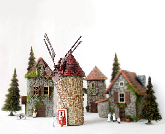 The Hermitage Series - Miniature Isle Aux Coudres Windmill in Quebec Province - Handmade HO Scale Building