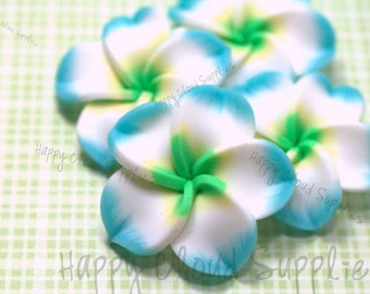 Large Polymer Clay Plumeria Frangipani Flower Beads in Light Blue, White and Yellow... 4pcs