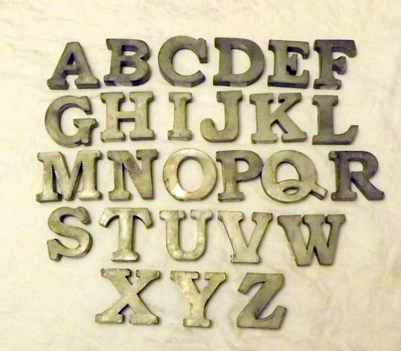 zinc metal letters a z plus ampersand