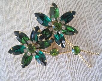 Emerald Green Rhinestone Brooch