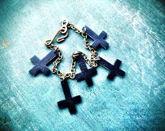 tiny dark inverted upside down cross charm bracelet with brass chain