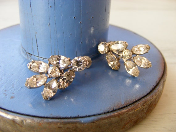 Vintage Clear Rhinestone Twist Earrings