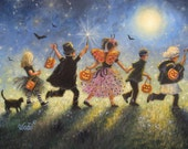 Halloween Parade Art print trick or treat paintings halloween paintings kids childrens halloween costumes black cat art