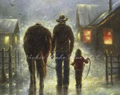 Cowboy and Girl Art Print dad and daughter cowboy paintings, cowboy images western farmer horse, farmer, daughter,  Vickie Wade art