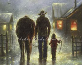 Cowboy Dad & Daughter Art Print,  father daughter art. cowboy paintings, cowboy images western farmer horse, farmer, Vickie Wade art