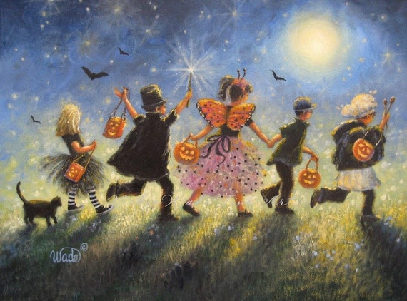 Halloween Children Art Print Trick Or Treat Paintings